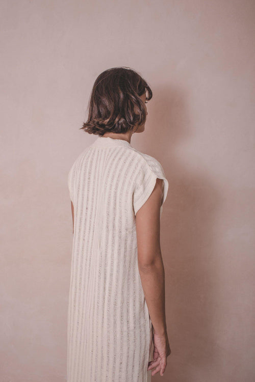 KAFTAN ELENA - Handwoven Cotton Dress - Natural Rough