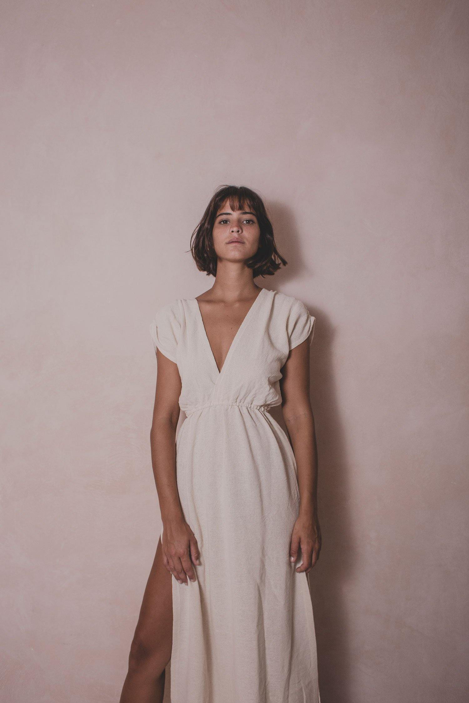 Andromaca - Cotton Handwoven Dress - Natural Rough