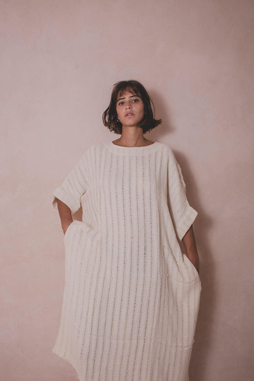 TULUM OFF WHITE - Handwoven Cotton Dress - Natural Rough
