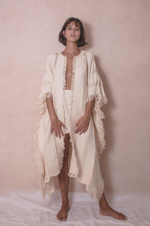 ELENA LONG - HANDWOVEN COTTON CAPE - NATURAL ROUGH