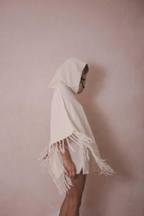 RUANA HOOD - HANDWOVEN CAPE - NATURAL ROUGH
