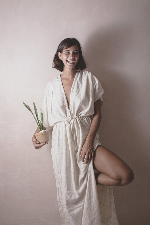 Karina Lisor - Handwoven Cotton Dress - Natural Rough