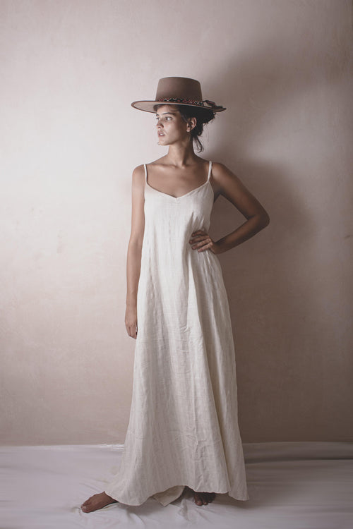 CLAUDITA LISOR - HANDWOVEN COTTON DRESS - NATURAL ROUGH