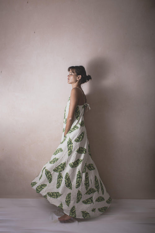 CLAUDITA BANANO - Handwoven Palm Print Dress - Natural Rough