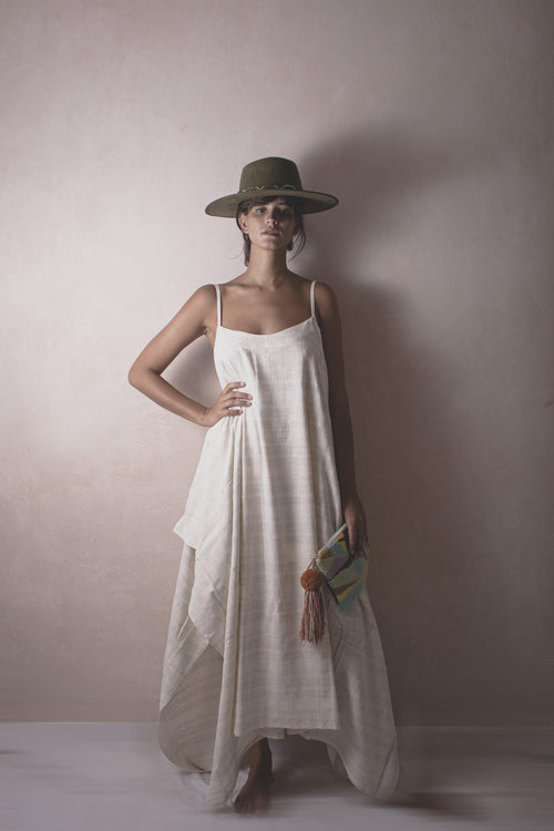 MICHELA LISOR - Handwoven Cotton Dress - Natural Rough