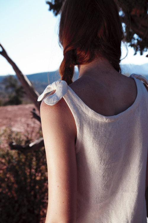 KANOTTA - HANDWOVEN COTTON TOP - NATURAL ROUGH