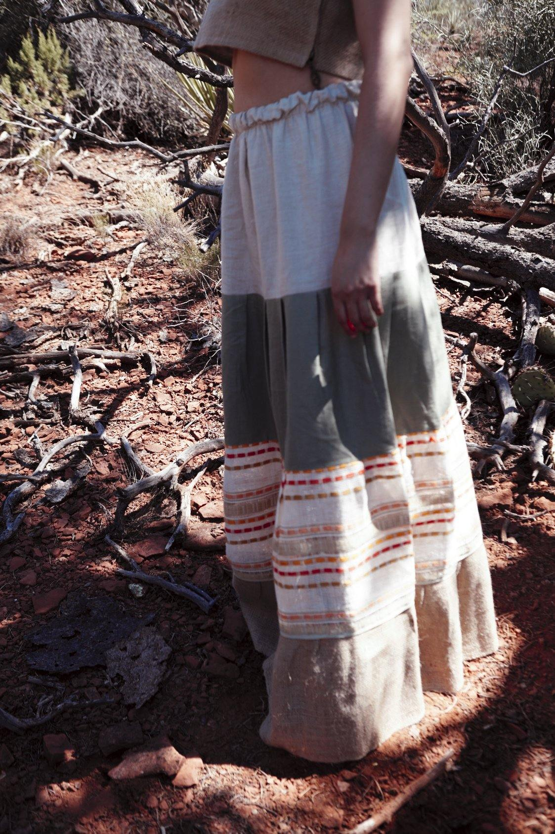BROCATE SKIRT - Handwoven Artisanal Cotton Skirt - Natural Rough