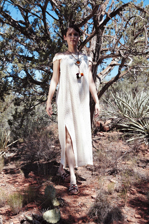 CARIDAD OFF WHITE - HANDWOVEN EYELET DRESS - NATURAL ROUGH