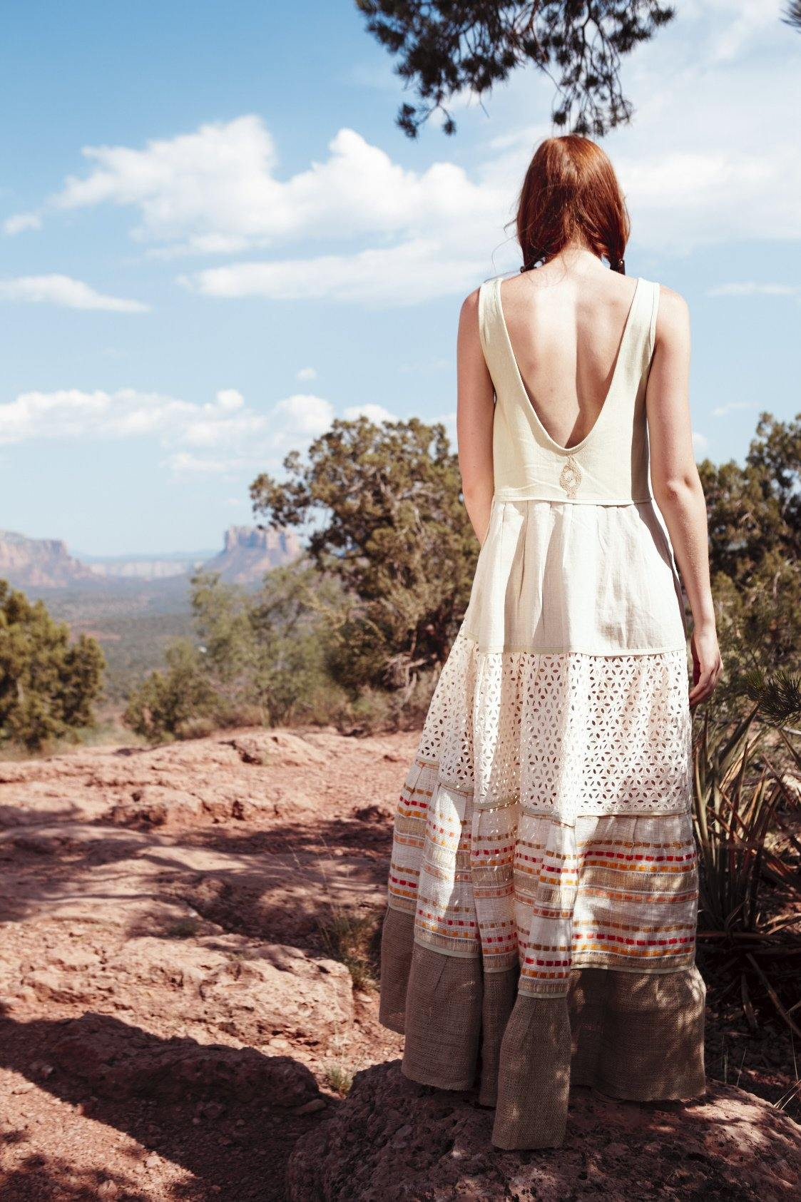 DANIELA ORANGE - HANDWOVEN COTTON DRESS - NATURAL ROUGH