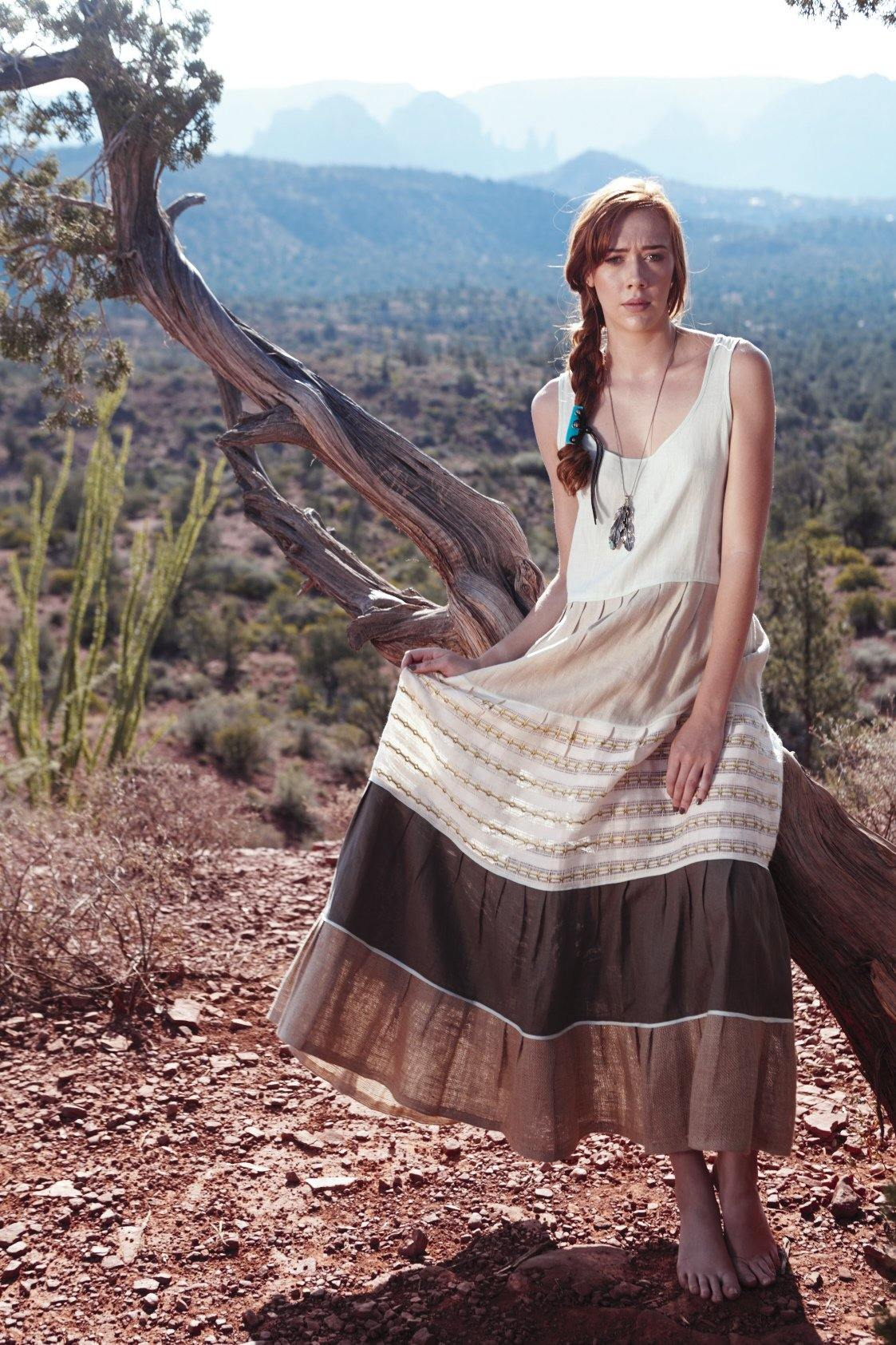 DANIELA GREEN - HANDWOVEN COTTON DRESS - NATURAL ROUGH
