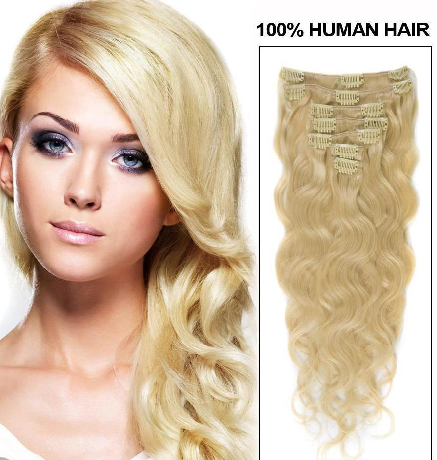 Wavy Clip In Bleach Blonde Hair Extension