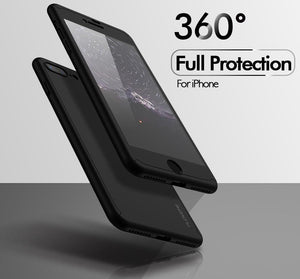 360 Protective Case For All iPhone w/ Front Tempered Glass