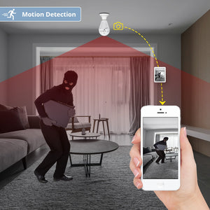 360° Wifi Light Bulb Security Surveillance Camera W/ Motion Detection