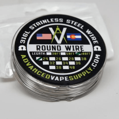 Advanced Vape Supply - 316L Round Wire Spool 50ft - Nimbus Vapour