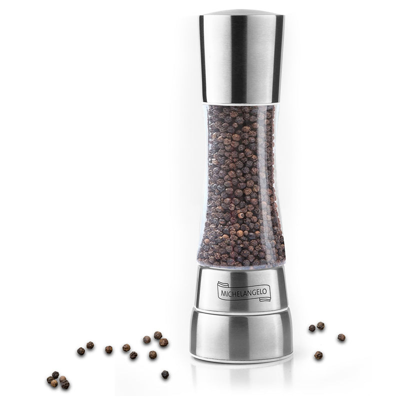 MICHELANGELO Stainless Steel Pepper Mill, Adjustable Pepper Grinder Mill Clear, Spice Mill, Salt and Pepper Mill, Pepper/Spice Not Included
