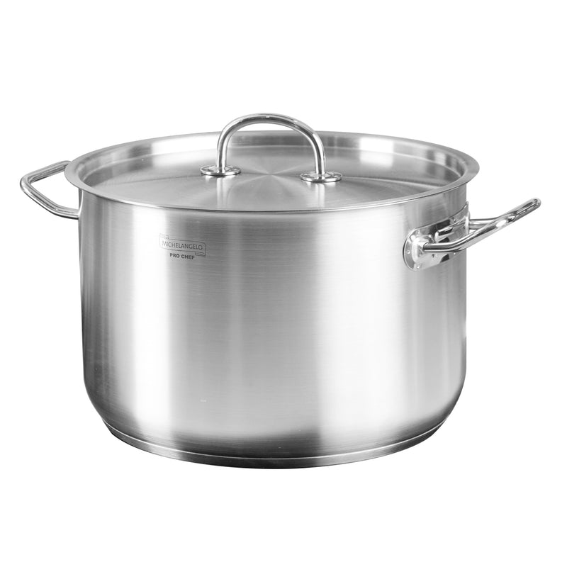 MICHELANGELO 10 Quart Stock Pot, Premium Stainless Steel 10 Qt Induction Pot with Lid, 10 Qt Pot for Soup, Large Pot with Lid, 10 Quart Stainless Steel Sauce Pot, Induction Compatible Pot