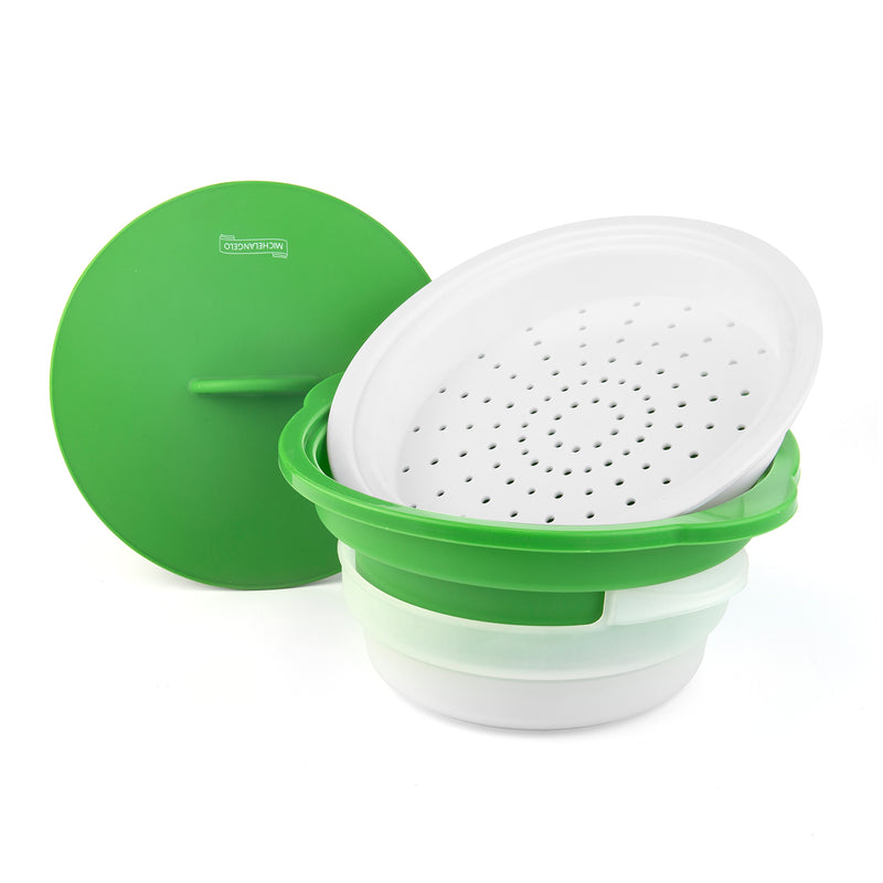 Michelangelo Microwave Steamer Collapsible Bowl, Vegetable Steamer with Handle & Lid for Meal Prep with Detachable Colander, Microwave Cookware BPA FREE, Dishwasher Safe