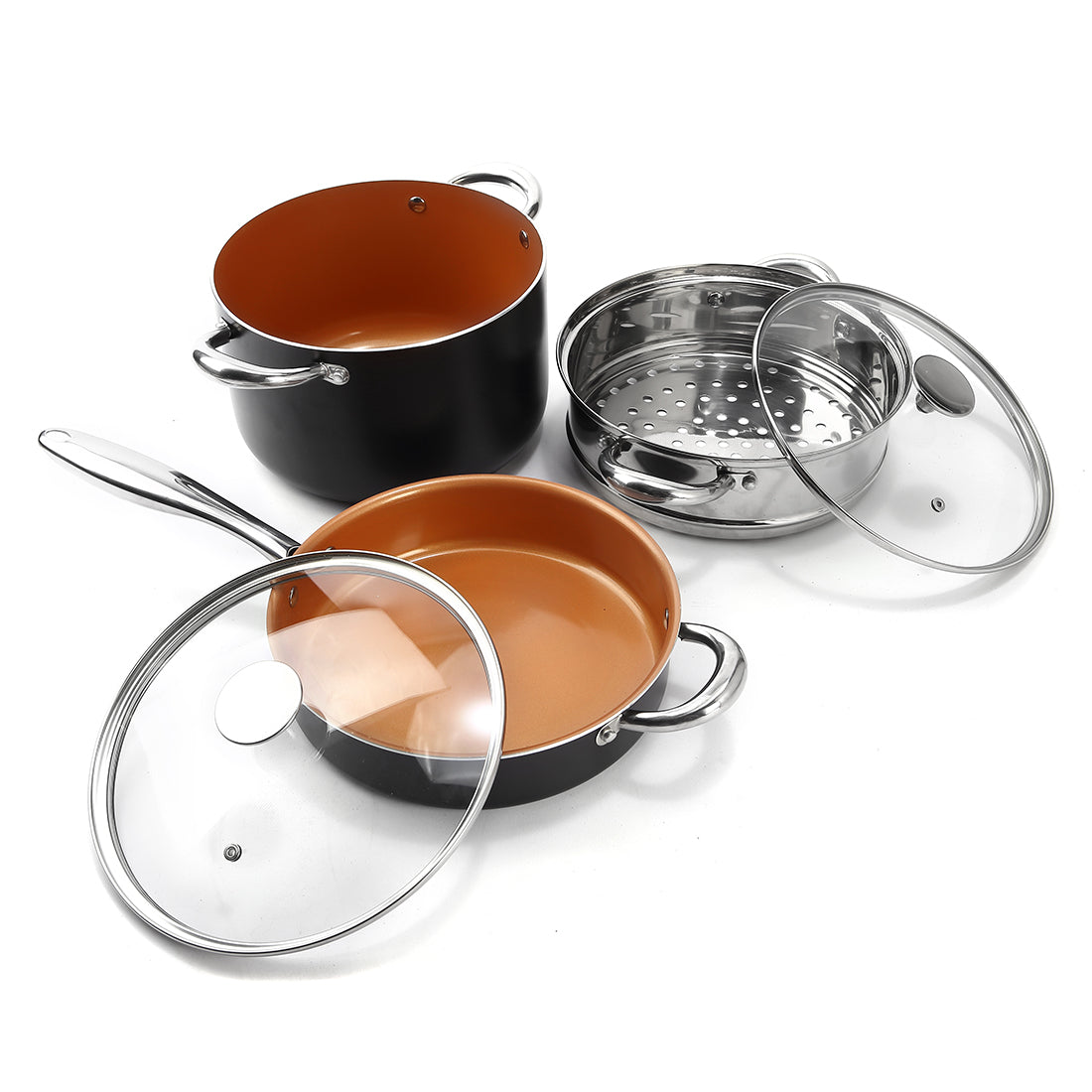 Michelangelo Copper Cookware Set 12 Piece With Nonstick