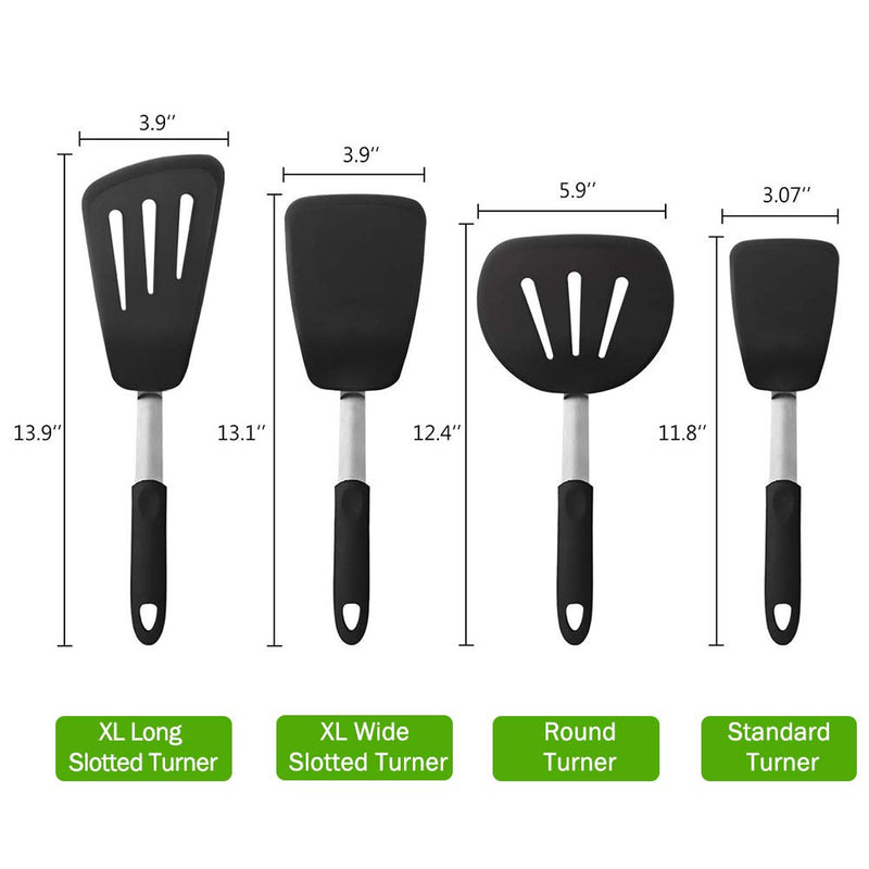 MICHELANGELO Extra Large Rubber Spatulas Silicone Heat Resistant BPA Free Spatula Set - XL Slotted Turner Spatula, XL Slotted Wide Spatula / Pancake Flipper, XL Spatula / Egg Turner, Silicone Spatula Set