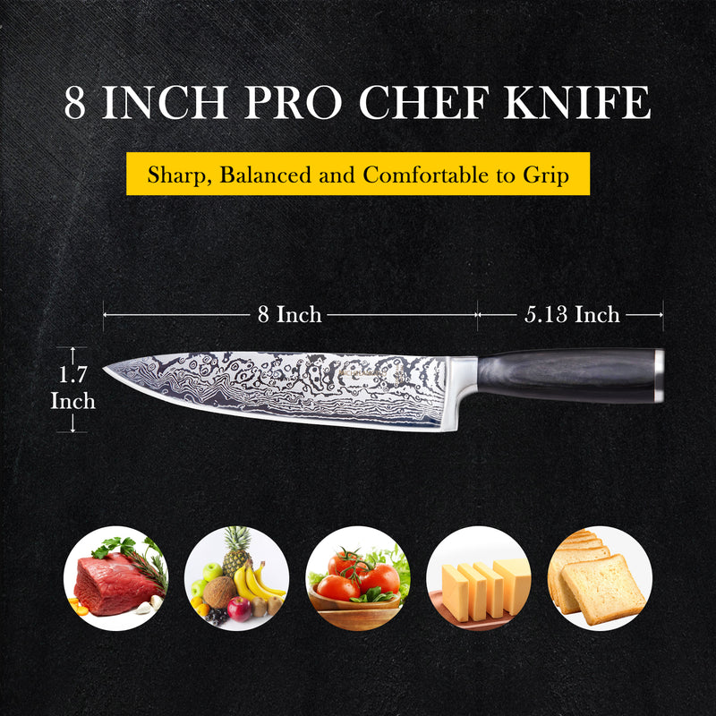 MICHELANGELO Super Sharp Professional Chef's Knife with Etched Damascus Pattern, High Carbon Stainless Steel Japanese Knife, Chef Knife for Kitchen - 02