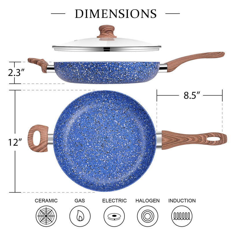MICHELANGELO 12 Inch Frying Pan with lid, Stone Frying Pans, Nonstick Skillet with Lid,  Induction Ready - Blue