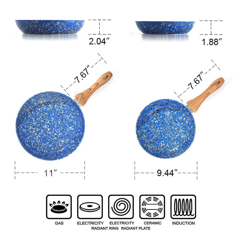 "MICHELANGELO Granite Frying Pan, Nonstick Frying Pans Set, Blue Granite Rock Frying Pans Nonstick, Stone Skillets Nonstick, Induction Compatible, 9.5"" & 11"" – Blue"