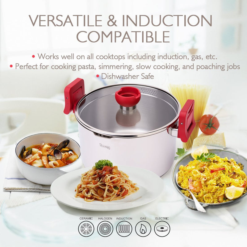 MICHELANGELO 5 Quart Pasta Pot Induction Ready, Stainless Steel Pasta Pot With Strainer Lid & Red Handles, Stainless Steel Dutch Oven Pot, 5 Quart Dutch Oven Pot, 5 qt Stainless Steel Pot