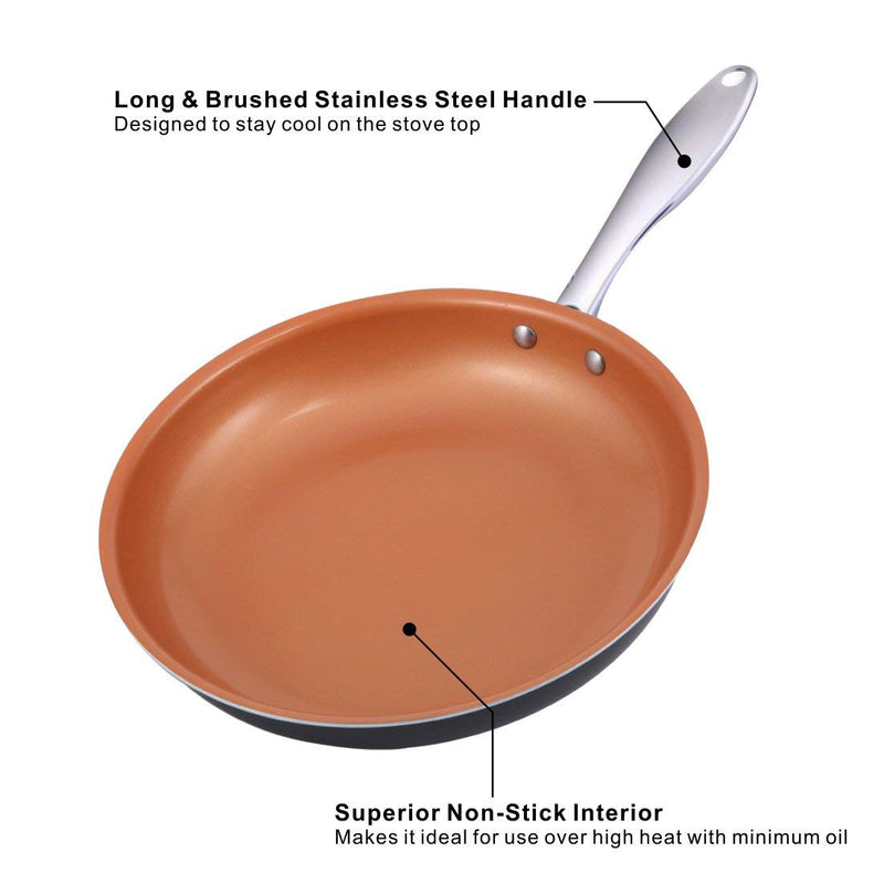 MICHELANGELO Premium Copper Pan Ultra Nonstick Ceramic Skillet With Stainless Steel Handle German Technology, 11 Inch Frying Pan Nonstick, Copper Omelette Pan, Titanium Frying Pan, Copper Skillet