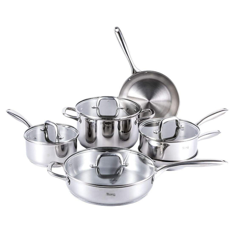 Michelangelo 10-piece Stainless Steel Cookware Set with Lid