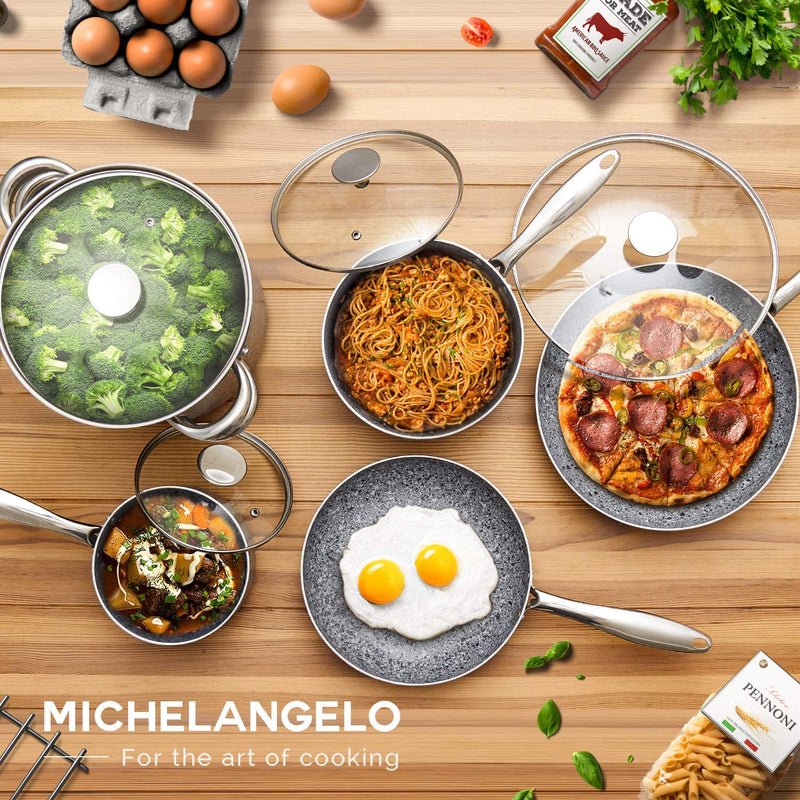 MICHELANGELO Stone Cookware Set 10 Piece, Ultra Nonstick Pots and Pans Set with Stone-Derived Coating, Stone Cookware Set Nonstick, Stone Pots and Pans Set - 10 Piece