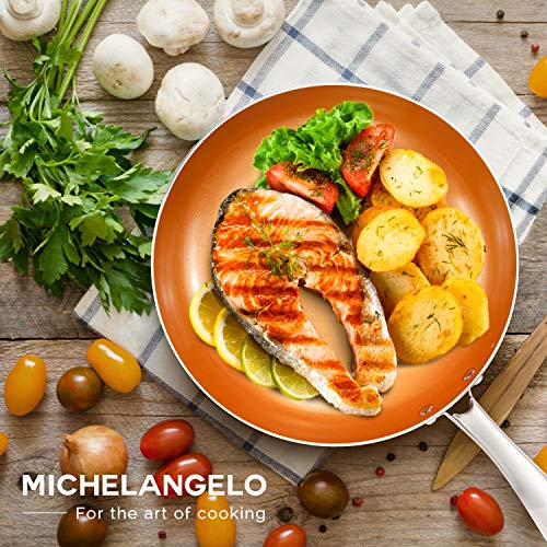 MICHELANGELO 10 Inch Frying Pan with Lid, Nonstick 10 Inch Copper Frying Pan with Titanium Ceramic Interior, Fry Pan 10 Inch, 10 Inch Skillet with Lid, 10 Inch Pan with Lid - Induction Compatible