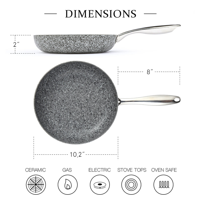 MICHELANGELO 10 Inch Frying Pan with Lid, Nonstick Stone Pan, 10 Inch Skillet with Lid, Granite Pans with Lid Induction Compatible - Grey
