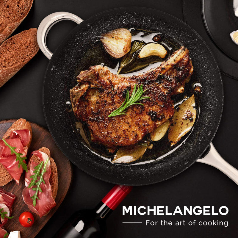 MICHELANGELO 12 inch Hard Anodized Frying Pan with Lid, Nonstick Stone Fry Pan, Induction Skillet, Oven Safe - Grey