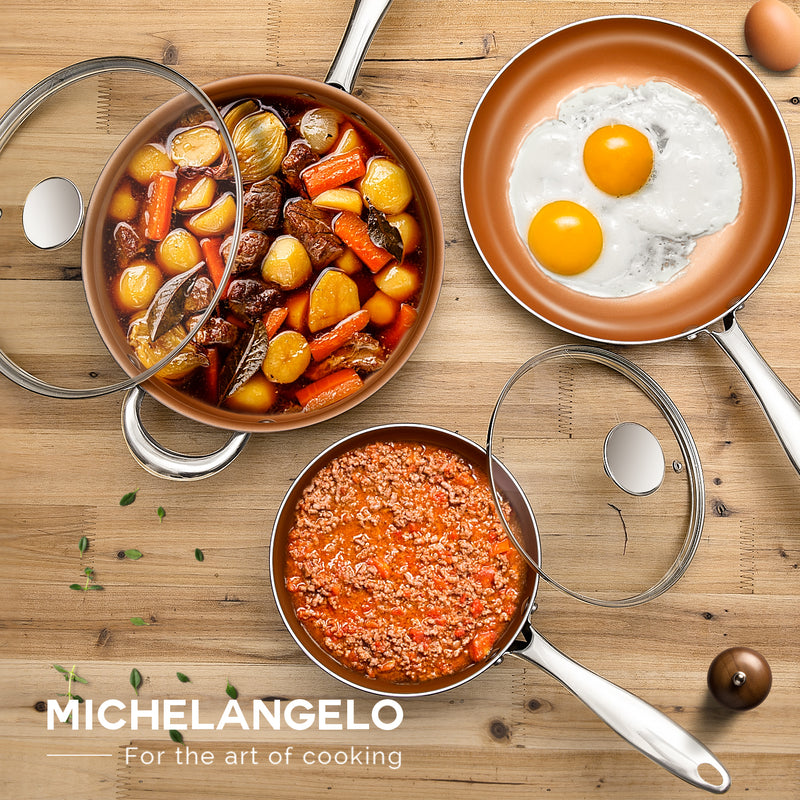 MICHELANGELO 5 Piece Cookware Set Nonstick, Essential Copper Pots and Pans Set with Ceramic Coating, Copper Cookware Set, Pot and Pan Set Nonstick, Scratch- Resistant – Saute Pan, Fry Pan & Saucepan