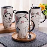 New Cute Cat Style Ceramic Mugs with Lid & Spoon