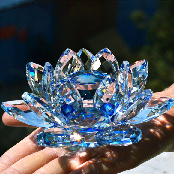 New Absolutely Beautiful Quarts Crystal Lotus Flower Decor
