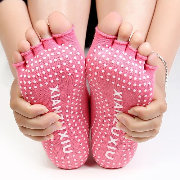 New Cute Non Slip  Half Toe Yoga Socks in 5 Colors