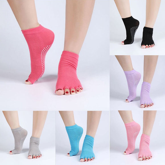 New Cute Yoga Anti-Slip Half Toe Socks in 6 Colors