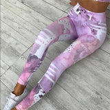 New Sexy Yoga Print Sports Bra & Leggings SET - Pink or Blue!