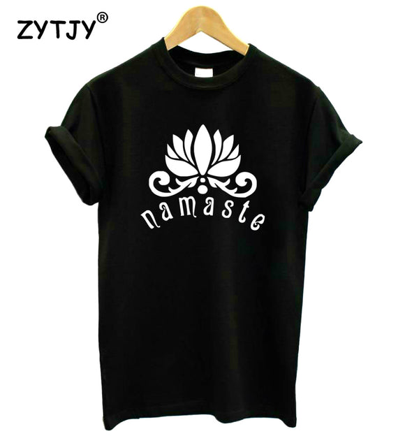 New Cotton NAMASTE Lotus Flower Print tshirt