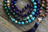 New 7 Chakra Mala Unique 8MM Natural Stone Long Tassel Necklace