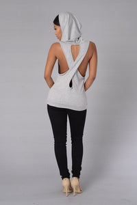 New Sexy Criss Cross Fitness Top With Hood - Black or Grey!