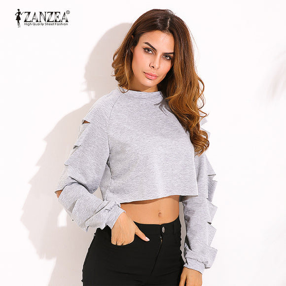 New Sexy Razor Cut Sleves Cropped Pullover - Many Colors & Sizes Available!