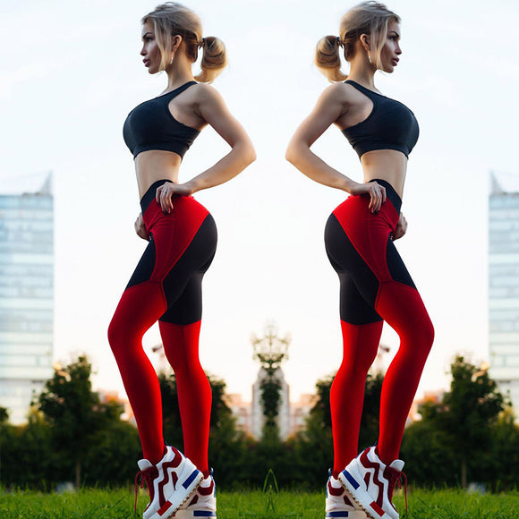 New Sexy Red Black stitching Workout Yoga Fitness Legging