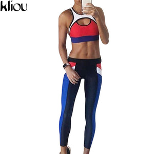 New Sexy Yoga or Track Red/White/Blue Top & Leggings Set