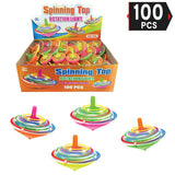 PROLOSO 100 Pcs Light Up Spinning Tops LED Flashing Spinners with Gyroscope Halloween Treats