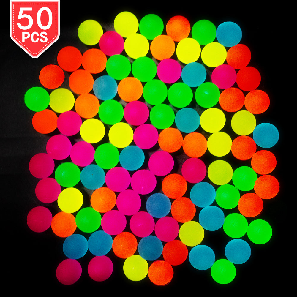 PROLOSO 50 Pcs Bouncy Balls Glow in The Dark Bouncing Rubber Pet Toys Bright Neon Colors 1.25""