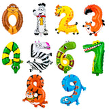 PROLOSO 10 Pack Animal Number Foil Balloons 21 inches Self-Sealing Helium Birthday Party Gifts