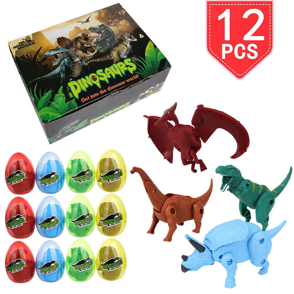 PROLOSO 12 Pcs Dinosaur Easter Eggs Hunt Basket Stocking Stuffers Fillers Deformable Dino Toys