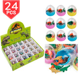 PROLOSO 24 Pcs Dinosaur Erasers Mini Eggs Animal Pencil Erasers Toys for Kids